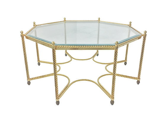 #2167 Small Gold Rope Octagonal Coffee Table