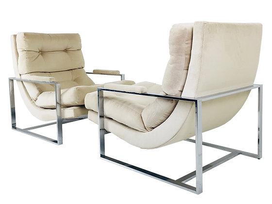 #3594 Pair Milo Baughman Style Chrome Lounge Chairs