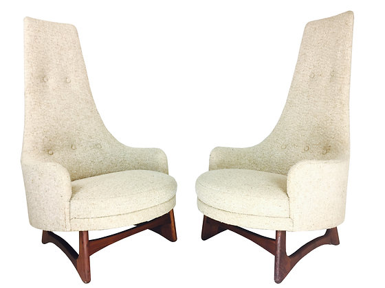 #2382 Pr Tall Back Adrian Pearsall Armchairs in an Oatmeal Colored Upholstery