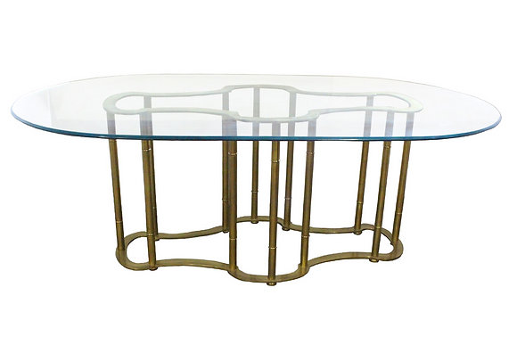 #1458 Mastercraft Brass Oval Dining Table