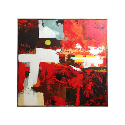 #4932 Mid-Century Red Abstract Lee Reynolds Art