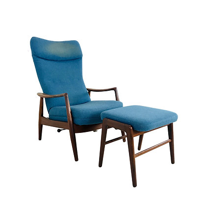 #4851 Ib-Kofod Larsen Reclining Chair with Ottoman
