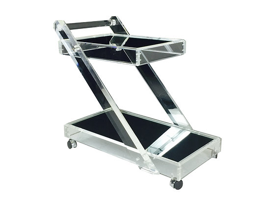 #2439 Lucite Bar Cart with Mirror Shelving