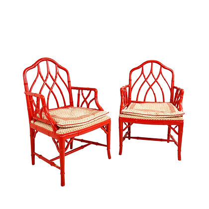 #5488 Pair of Coral Faux Bamboo Armchairs