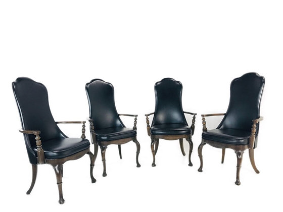 #4453 Set of 4 Black Leather Game Chairs