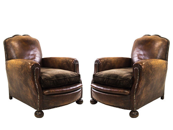#3165 Pair of Vintage Leather Club Chairs