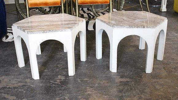 #8800 Pr White Side Tables w/ Travertine Top