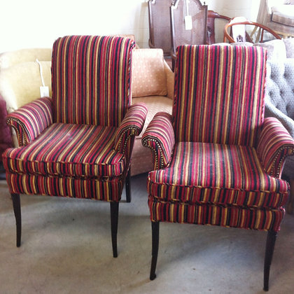 #4209 Pair Red Stripe French Chairs