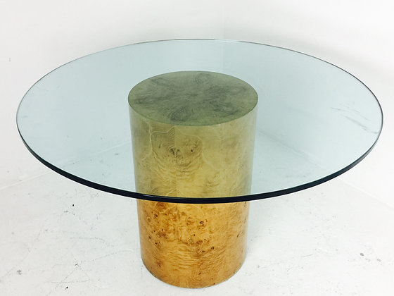 #2619 Burl Pedestal Dining Table in the Style of Milo Baughman