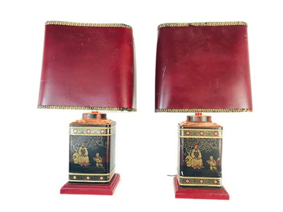 # 4691 Pair Of Asian Tole Lamps