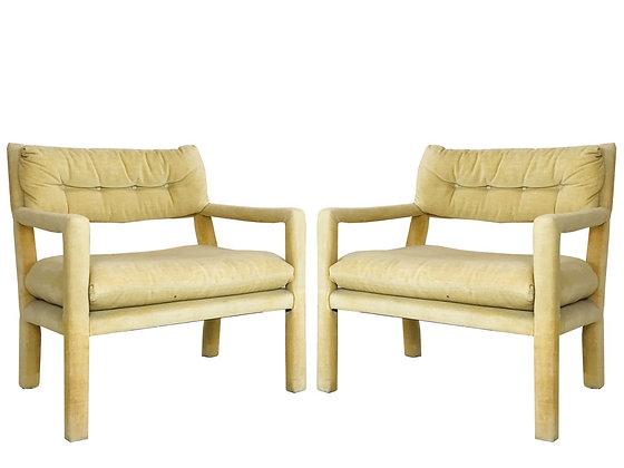 #4323 Pair of Milo Baughman Style Parson Chairs