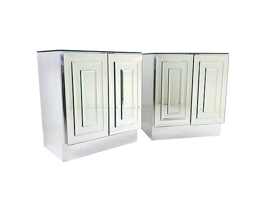 #5621 Pair of Ello Mirrored Nightstands / Cabinets