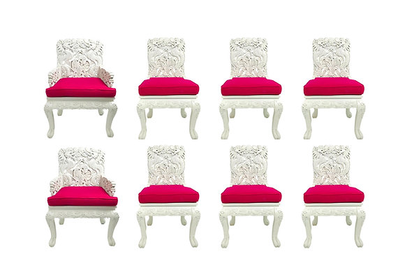 #5634 Set of 8 Carved Asian Dining Chairs