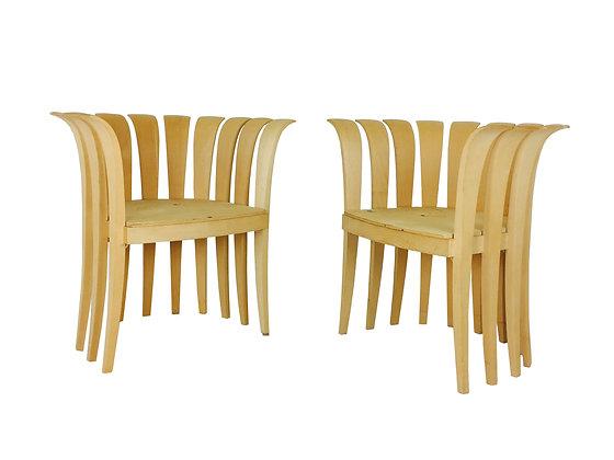 #2348 Pair Wood Petal Style Armchairs