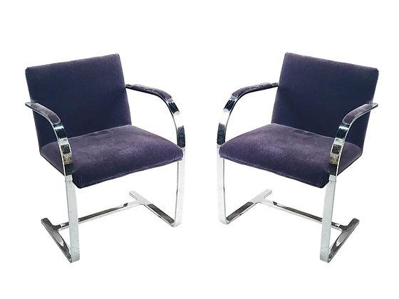#2009 Pair Purple Velvet BRNO Chairs