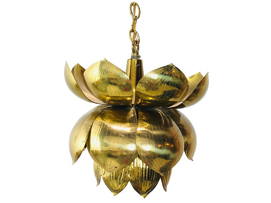 #2152 Single Petite Brass Lotus Pendant with Ceiling Canopy