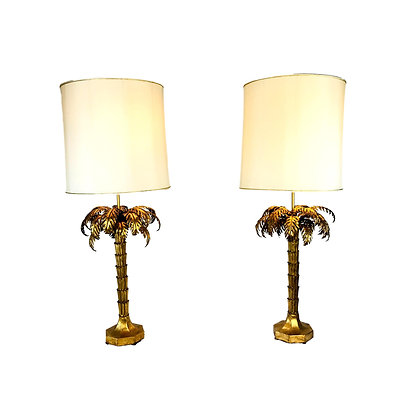 #4860 Pair Gold Gilded Palm Tree Lamps