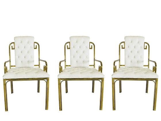 #3812 Set of Three Mastercraft Brass Chairs