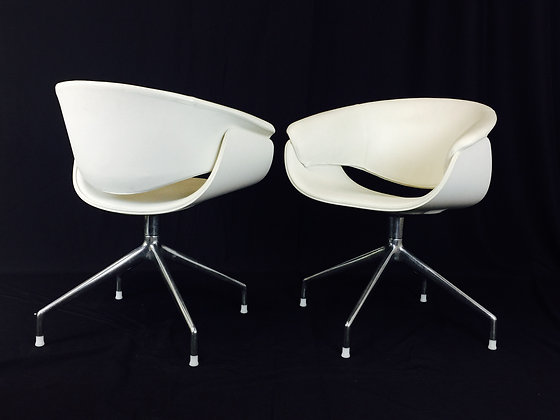 #3049 Pair White Swivel B&B Italia Chairs