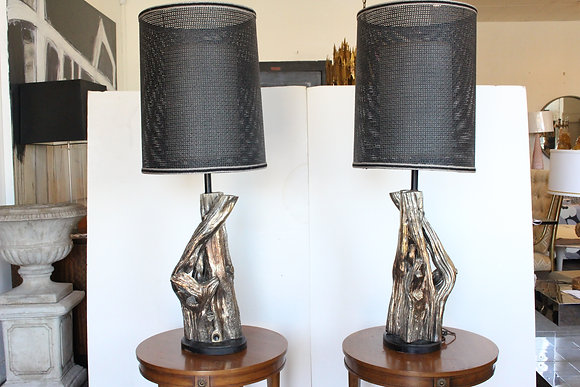 #1078 Pair Faux Driftwood Lamps