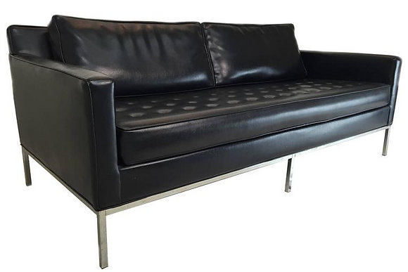 #1629 Milo Baughman Black Sofa for Thayer Coggin
