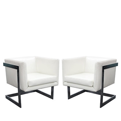 #8095 Pair Milo Baughman White Leather Chairs