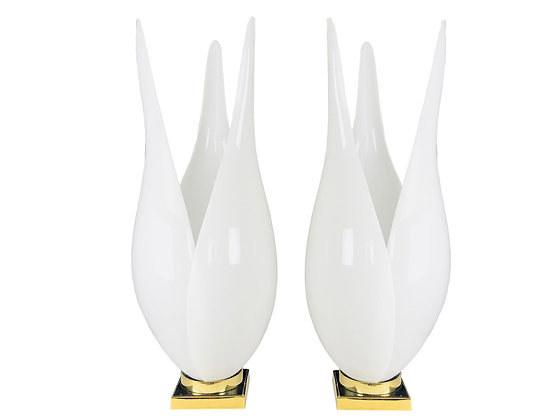 #3445 Pair of Tulip Lamps by Rougier