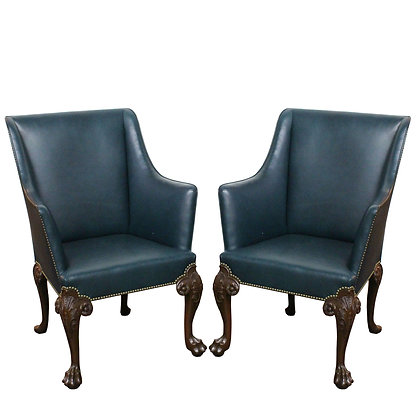 #7843 Pair Tall Leather Chairs with Claw Feet