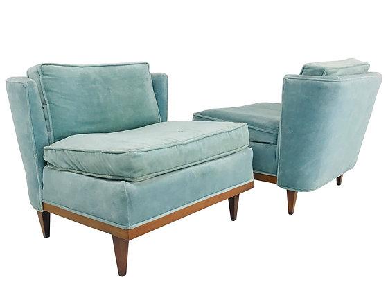 #3667 Pair Light Blue Velvet Mid-Century Slipper Wingback Chairs
