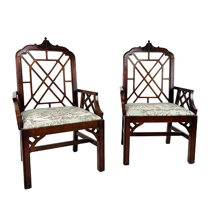 #5481 Pair of Hollywood Regency Chinese Chippendale Chairs
