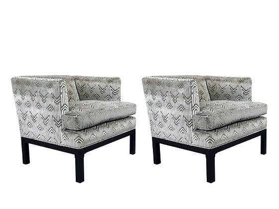 #8854 Pair Cut Velvet Armchairs by Dunbar