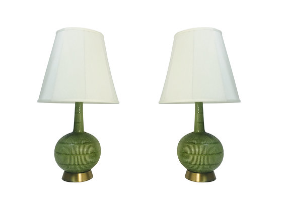 #1997 Pair MCM Green Lamps with Brass Bases