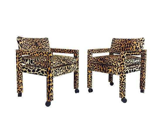 #2709 Pair Milo Baughman Leopard Parsons Chairs on Casters