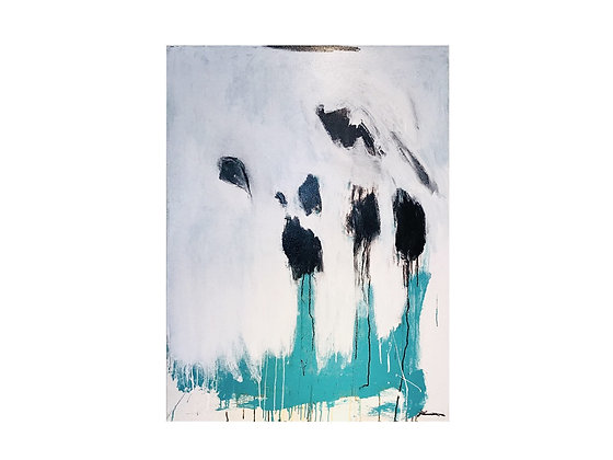 """#3118 Turquoise Black & White Abstract Painting 36""""x 48"""""""