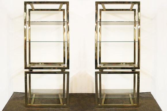 #997 Pair Brass & Glass Shelving