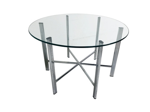 Round Glass Top Coffee Table With Chrome Starburst Base - Chrome base glass top coffee table