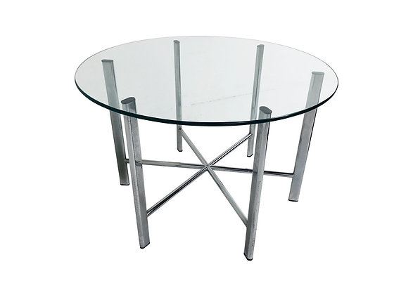 #3698 Round Glass Top Coffee Table with Chrome Starburst Base