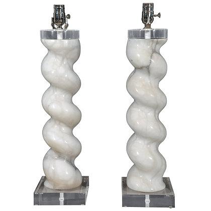#4956 Pair Corkscrew Marble Lamps