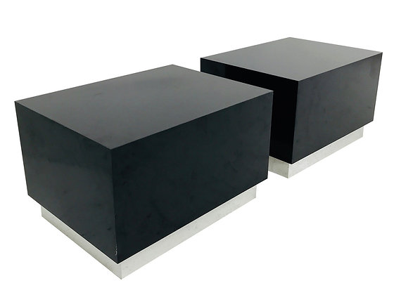 #3736 Pair of Black Laminate Side Tables with Chrome Plinth Bases