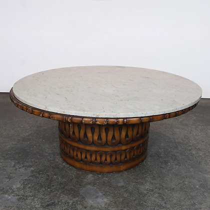 #7243 Craved Coffee Table with Marble Top