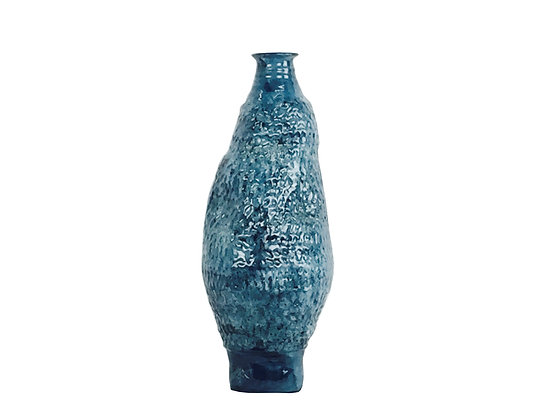#2158 Tall Art Pottery with Blue Texture