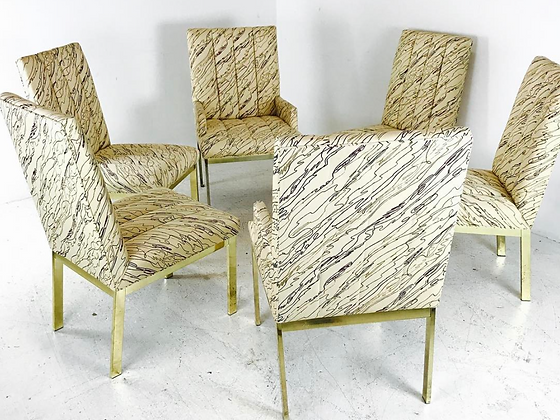 #3005 Set of 6 Brass DIA Dining Chairs