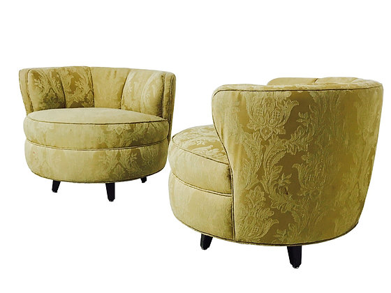 #3077 Pair Channel Back Barrel Chairs
