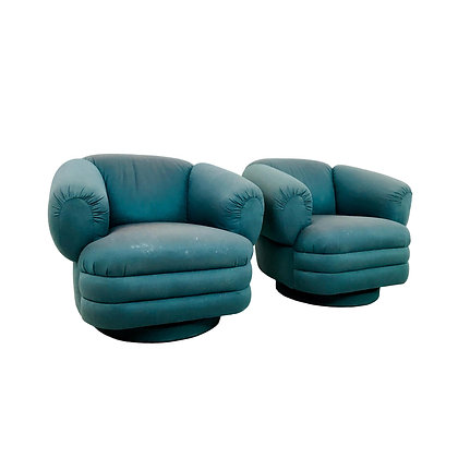 #5297 Pair of 1980s Teal Lounge Chairs