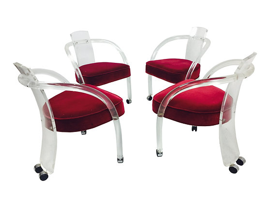 #2441 Set of 4 Lucite Chair the Style C.H. Jones