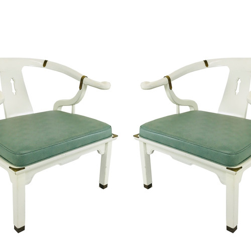 Exceptional #3643 Pair White Lacquered Ming Chairs With Mint Green Upholstery