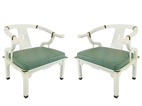 #3643 Pair White Lacquered Ming Chairs with Mint Green Upholstery