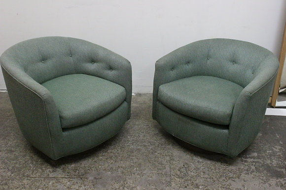 Pair BlueGreen Swivel Chairs in the Style of Milo