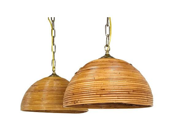 #3696 Pair Rattan Dome Pendants