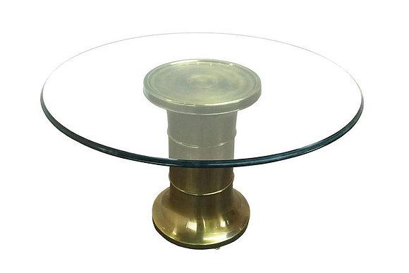 #1701 Brass Pedestal Game Table by Mastercraft